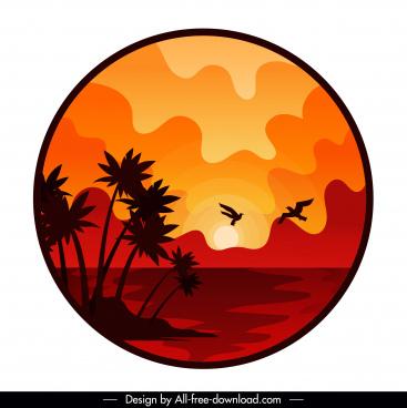 beach sunset landscape background classical decor circle isolation