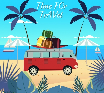 beach travel banner bus baggage icons colored cartoon