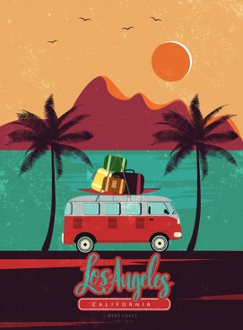 beach trip advertising car luggage icons retro design