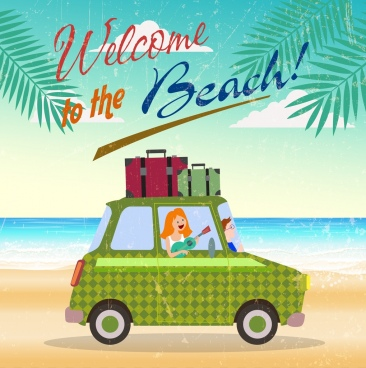 beach trip banner car luggage icon retro design