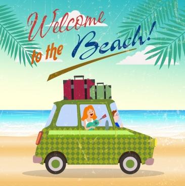 beach trip banner car luggage icon retro design