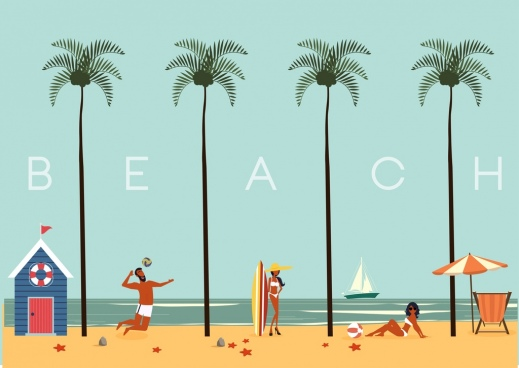 beach vacation background coconut people texts decoration