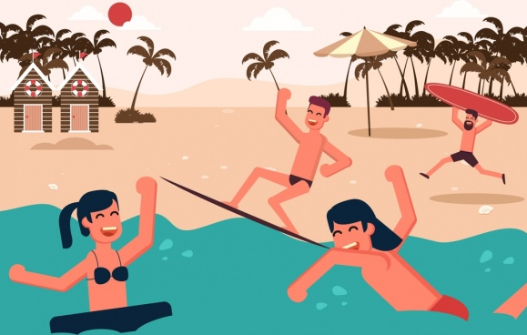 beach vacation background joyful people icons colored cartoon