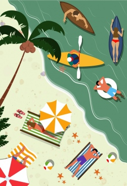 beach vacation drawing recreational people colored cartoon