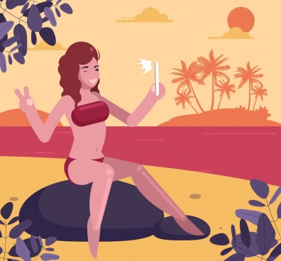 beach vacation painting selfie woman icon cartoon character