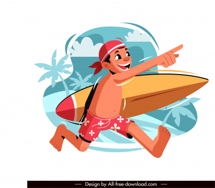 beach vacation painting surfer sketch cartoon design