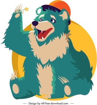 bear animal icon cute cartoon sketch classical design