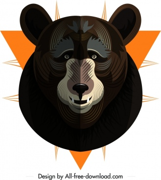 bear animal icon hanging head decoration