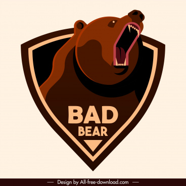 bear badge template fierce emotion sketch