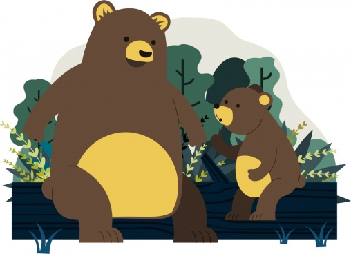 bear family background cute cartoon design