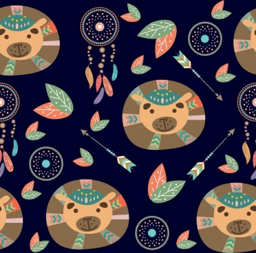 bear head icons background repeating tribal style decoration