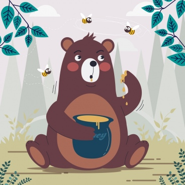 bear honey background cute cartoon character