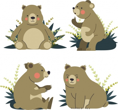 bear icons collection cute cartoon characters