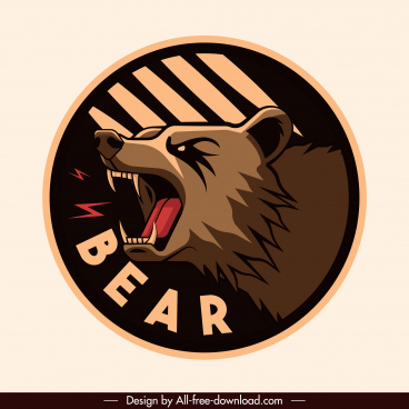 bear label template fierce emotion classical design