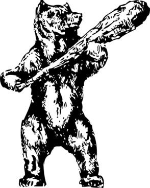 Bear With A Club clip art