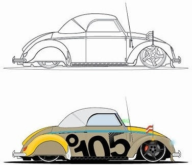 vintage car sketch design