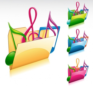 music notes folder icons modern colorful 3d design