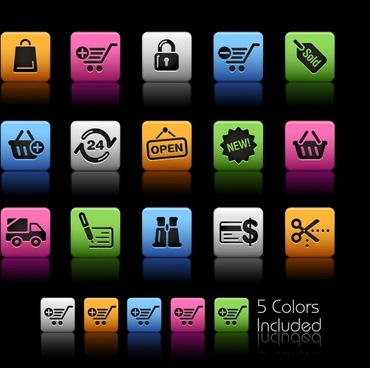 commercial web button templates colorful modern squares sketch