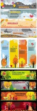 beautiful autumn banners vector