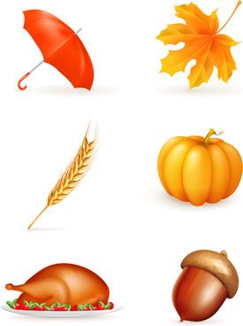 beautiful autumn elements vector set