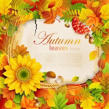 autumn background template elegant colorful flowers leaves decor