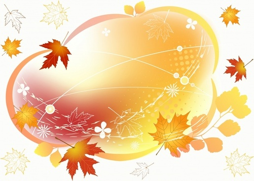 autumn background flying leaves icons dynamic design