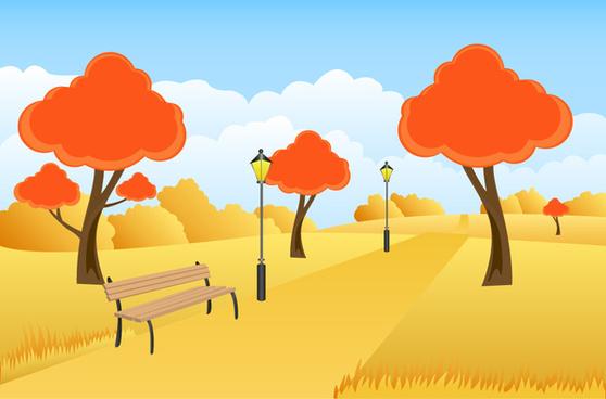 beautiful autumn scenery vector illustration with cartoon style