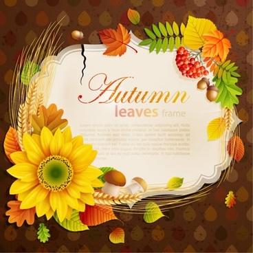 beautiful autumn sunflower photo frame vector