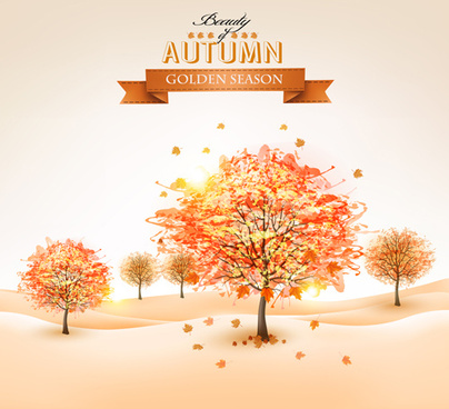 beautiful autumn tree background vector
