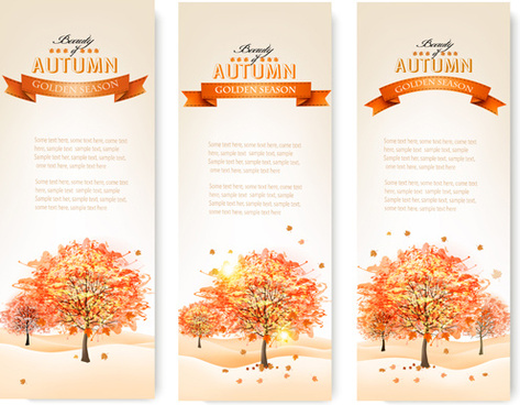 beautiful autumn tree banners vector
