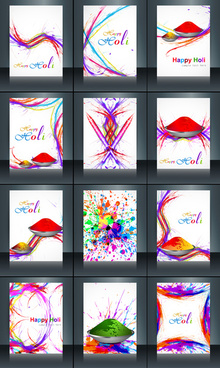 beautiful background of indian festival brochure collection set colorful holi reflection card template vector