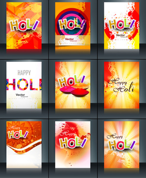 beautiful background of indian festival collection colorful set holi brochure card reflection vector template design
