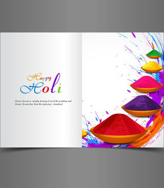 beautiful background of indian festival holi greeting card with colorful text splash vector