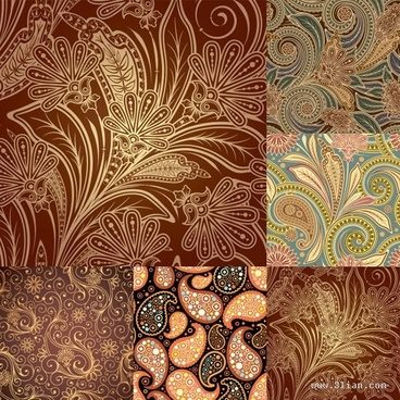 decorative pattern templates colored classical botany decor