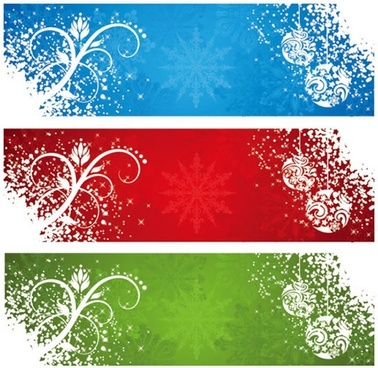 xmas banner templates white snow baubles floras silhouettes