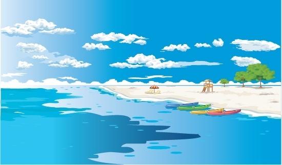beautiful beach scenery vector