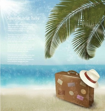 beautiful beach summer background vector set