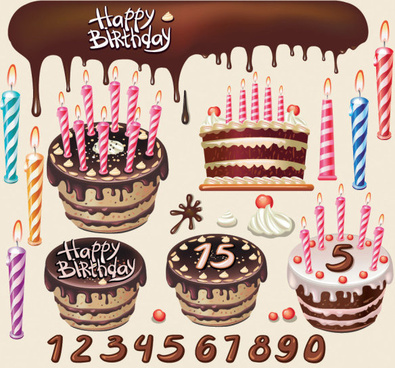 beautiful birthday cake design elements