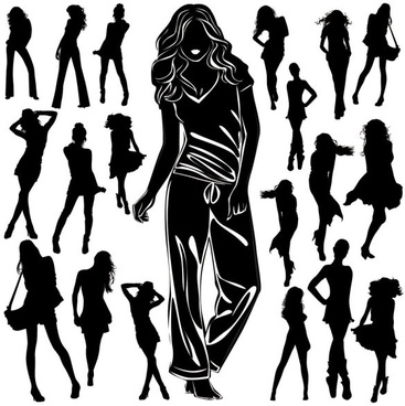 beautiful black and white silhouette 03 vector