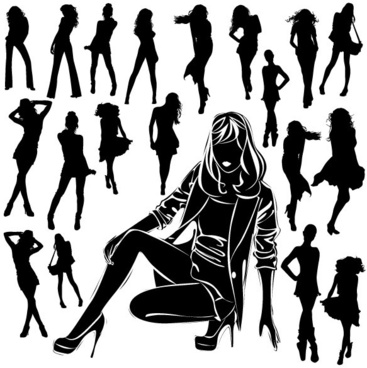 beautiful black and white silhouette 04 vector