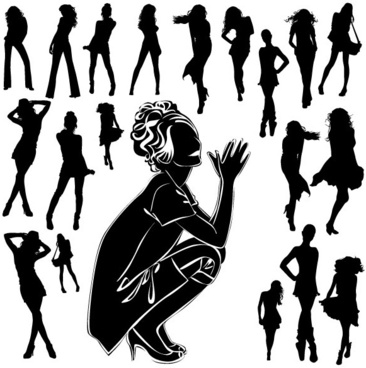 beautiful black and white silhouette 05 vector