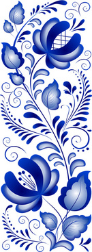 beautiful blue flower ornaments design vector