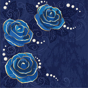 beautiful blue rose vintage background vector