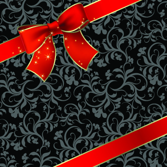 beautiful bow holiday cards vector set