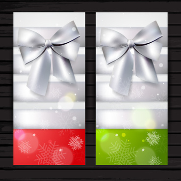 beautiful bow with christmas holiday cards vector