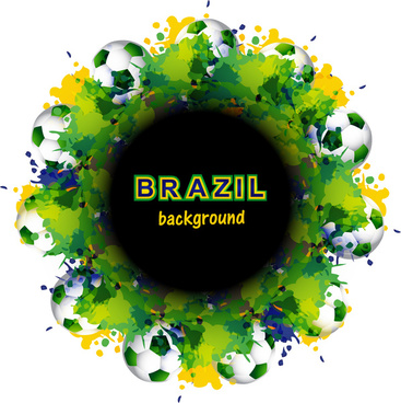 beautiful brazil flag concept circle splash grunge card colorful soccer background vector