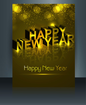 beautiful brochure happy new year template vector colorful design