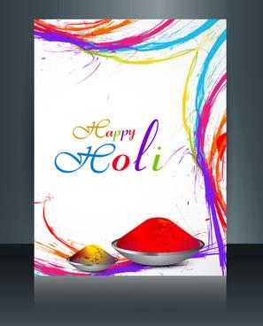 beautiful brochure holi colorful template card celebration background vector