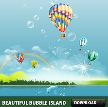 Beautiful Bubble Island PSD file