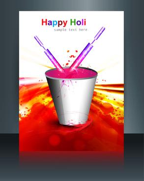 beautiful bucket full of colors and pichkari in festival holi template vector brochure design